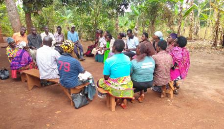 Meeting of community members in Kyekidde village, Uganda
